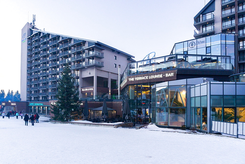Borovets Ski Resort, bars and eateries at the bottom of the ski hill, Bulgaria, Europe - 1247-222