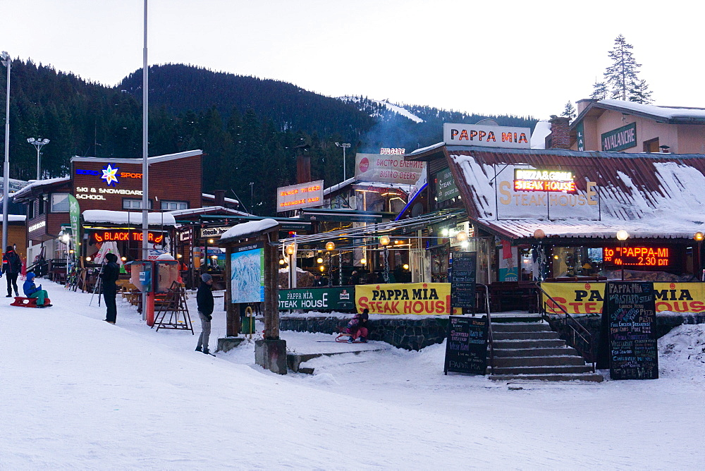 Borovets Ski Resort, bars and eateries at the bottom of the ski hill, Bulgaria, Europe - 1247-223