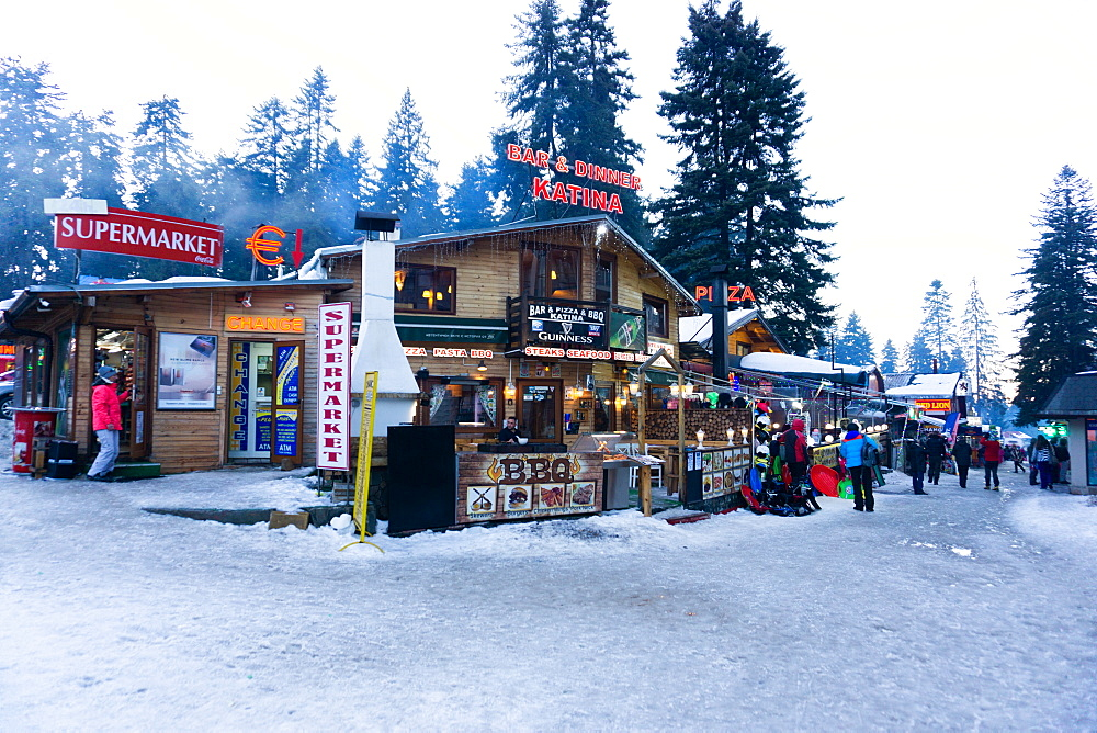 Borovets Ski Resort, bars and eateries at the bottom of the ski hill, Bulgaria, Europe - 1247-224