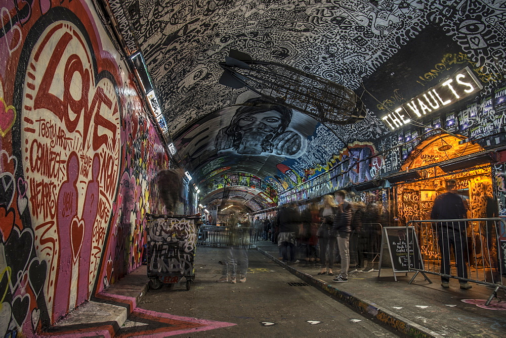 Graffiti Artists and people awaiting a show at The Vaults in the Leake Street Tunnel in London, England, United Kingdom, Europe - 1247-31