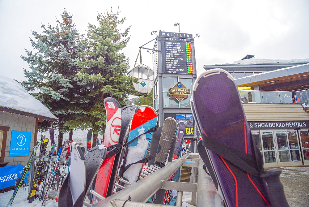Ski equipment outside the GLC, a top apres bar in Whistler, British Columbia, Canada, North America