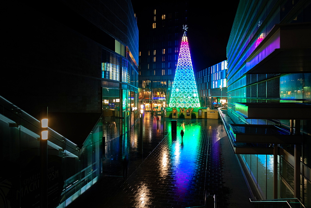 Liverpool Christmas Lights in city at night, England, United Kingdom, Europe