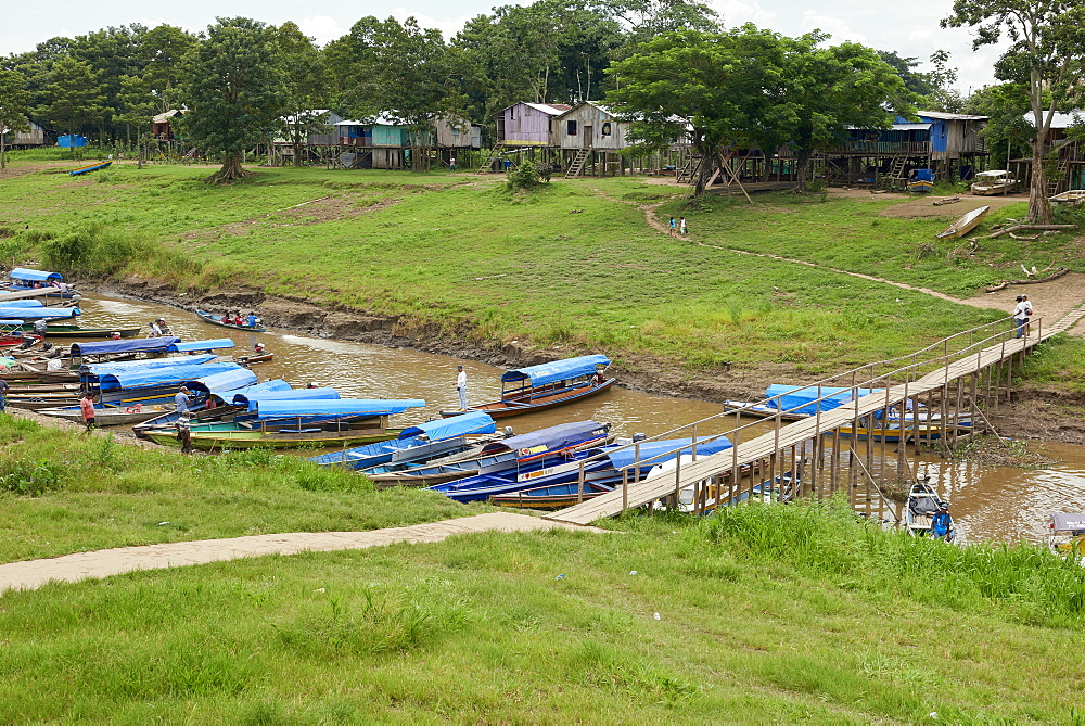 View over port of Leticia, where boats leave for local communities in the rainforest, Leticia, Colombia, South America