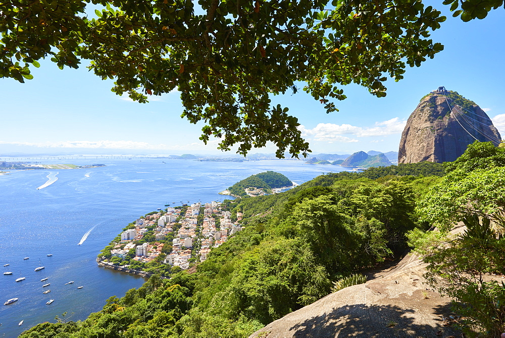 View from atop Morro da Urca with Sugarloaf mountain to the right, Rio de Janeiro, Brazil, South America