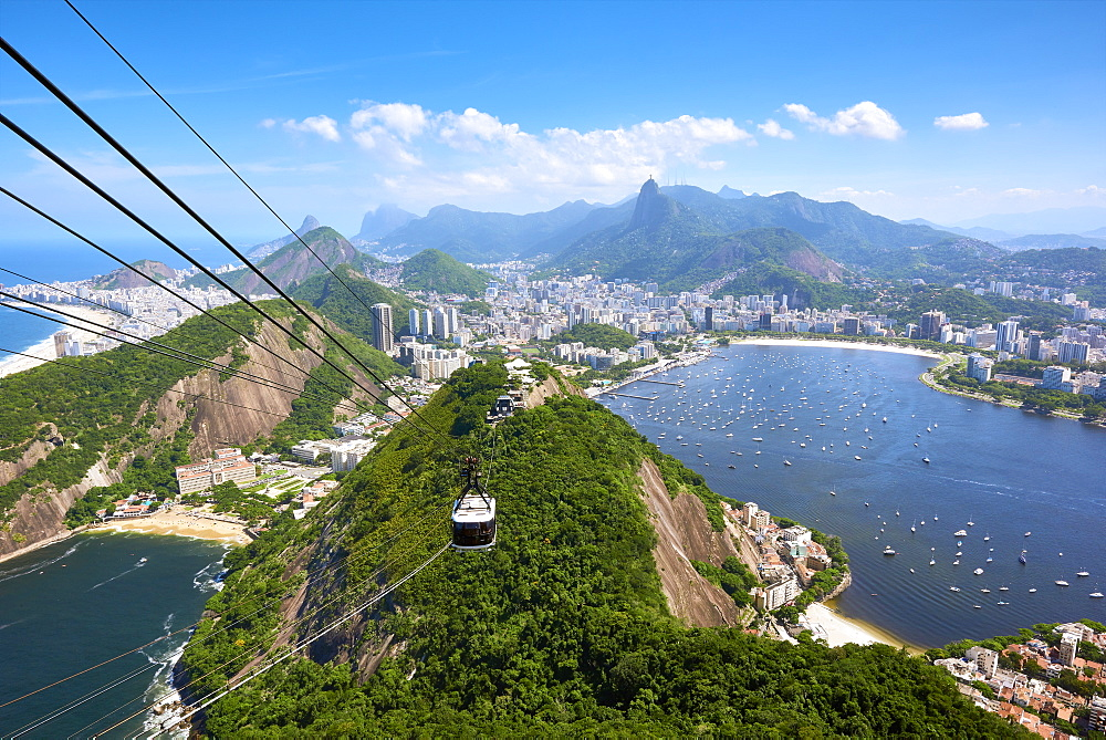Rio de Janeiro seen from atop Sugarloaf mountain with, Guanabara Bay to the right and Praia Vermelha to the left, Rio de Janeiro, Brazil, South America