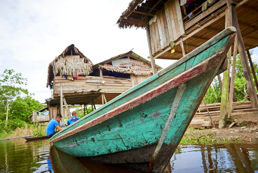 Low angle shot of Riverboat in Nanay River, near Iquitos, Peru, South America - 1248-49