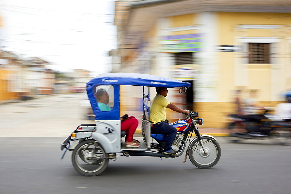 Panned shot of mototaxi in Iquitos, Peru, South America - 1248-60