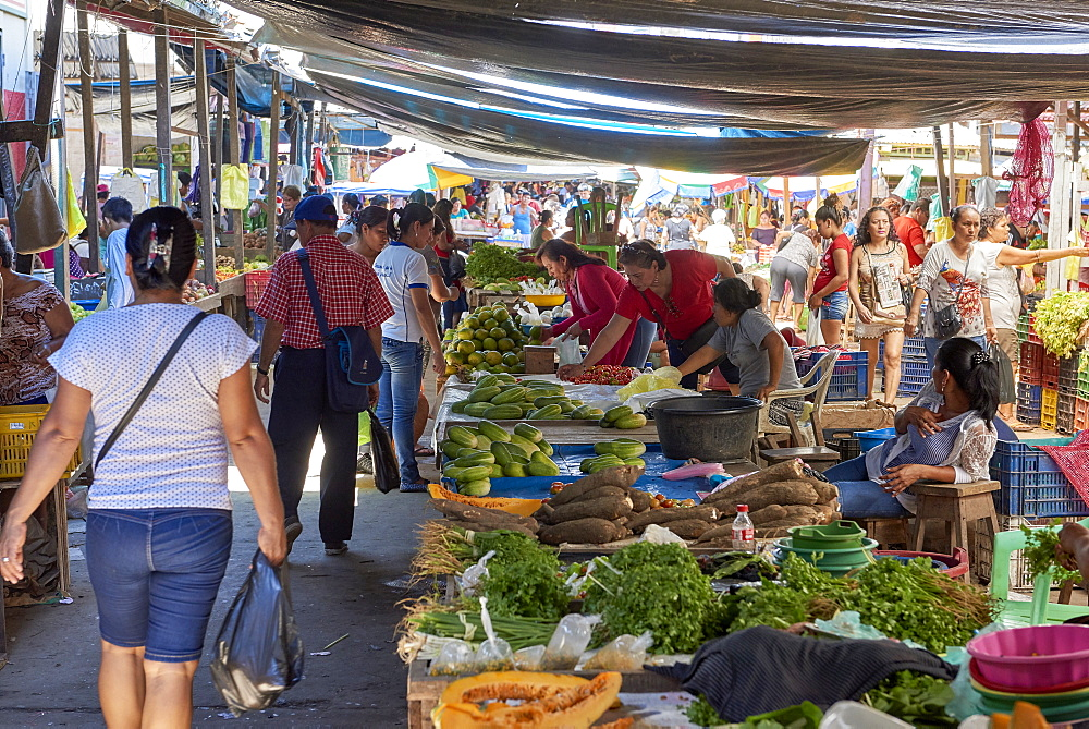 Food stalls in Belem market, in Iquitos, Peru. The famous street market hosts a plethora of goods and services.