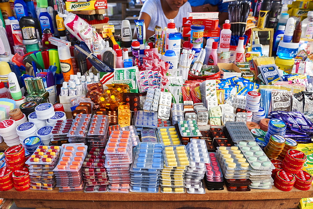 Medicine stall in Belem Market, in Iquitos, Peru, the largest market in the city.