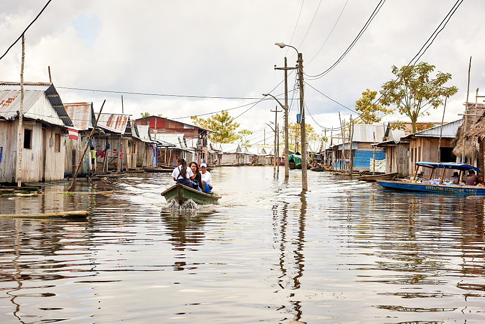 Wooden houses in flooded area of Belem, Iquitos, Peru, South America - 1248-64