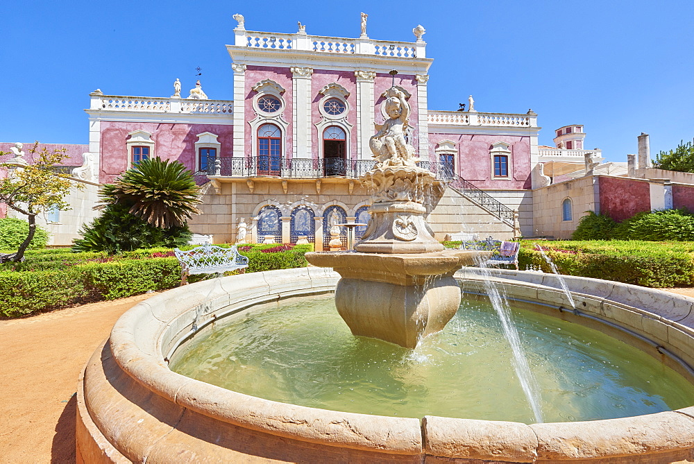 Water fountain at the entrance to Estoi Palace, in the Algarve, Portugal, Europe