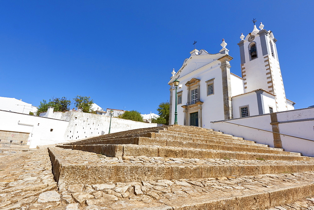 Wide angle shot of Matriz Church of Estoi, Algarve, Portugal, Europe