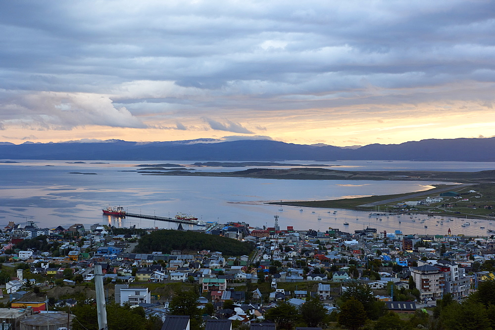 Overview of Ushuaia during sunset, Tierra del Fuego, Argentina, South America