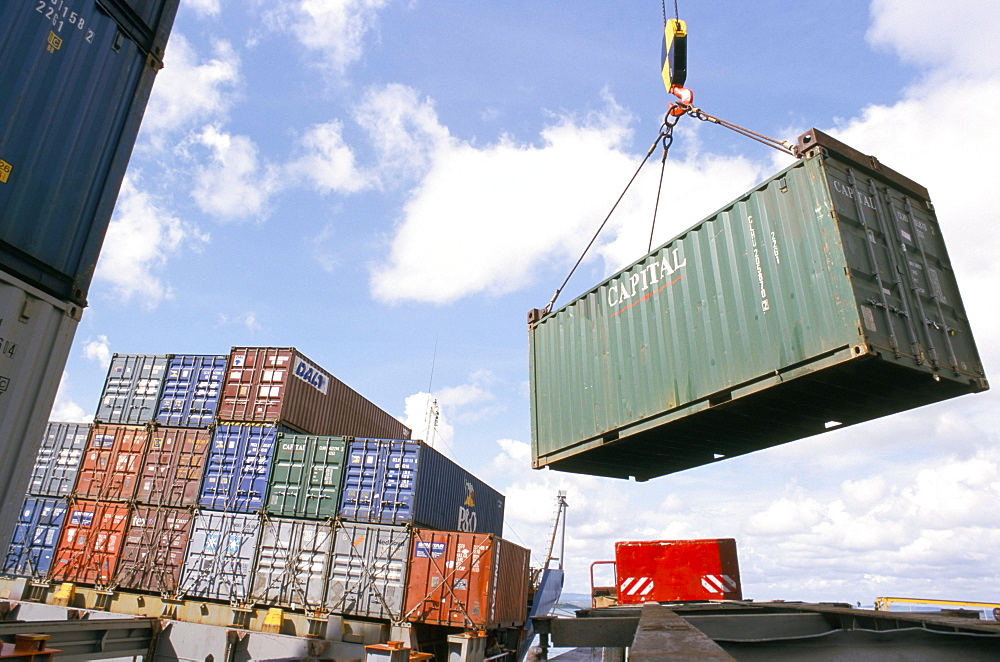 Container Terminal, Mombasa harbour, Kenya, East Africa, Africa