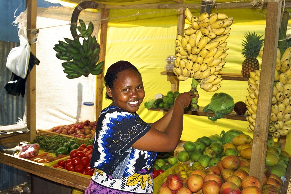 Kiosk vendor, Nyali, near Mombasa, Kenya, East Africa, Africa