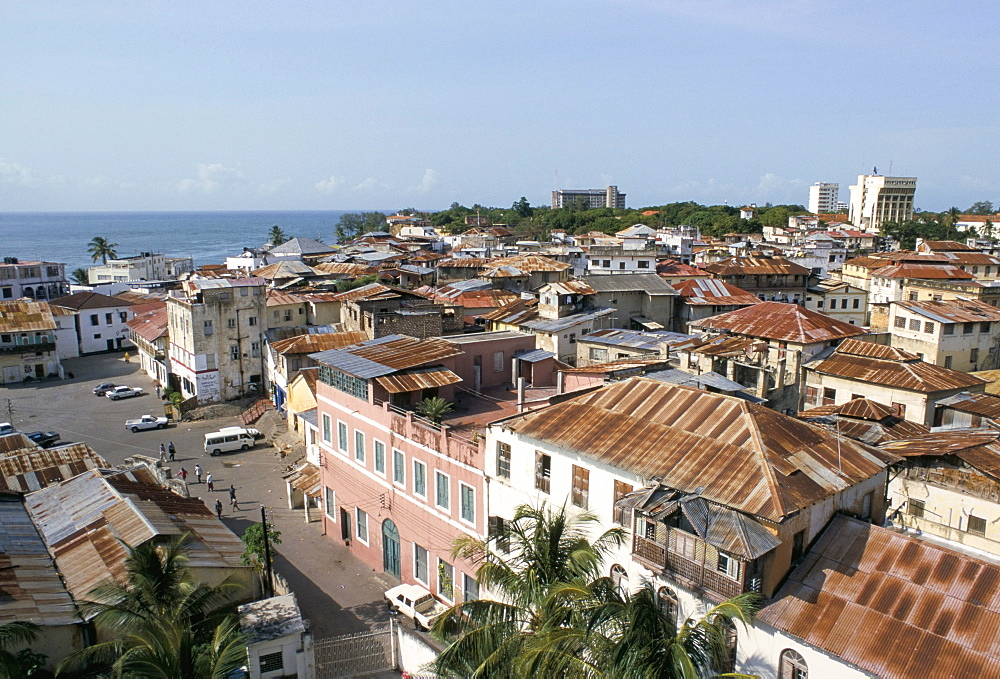 View over roof tops, Old town, Mombasa, Kenya, East Africa, Africa