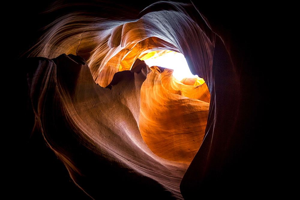 Lights and shadows in Upper Antelope Canyon, Navajo Tribal Park, Arizona, Usa.