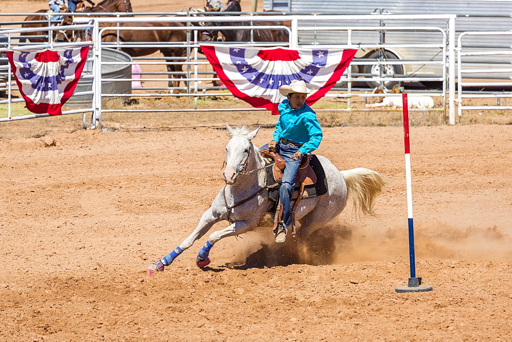 Horse rider competing in the Annual Utah Navajo Fair, Bluff, Utah, United States of America, North America
