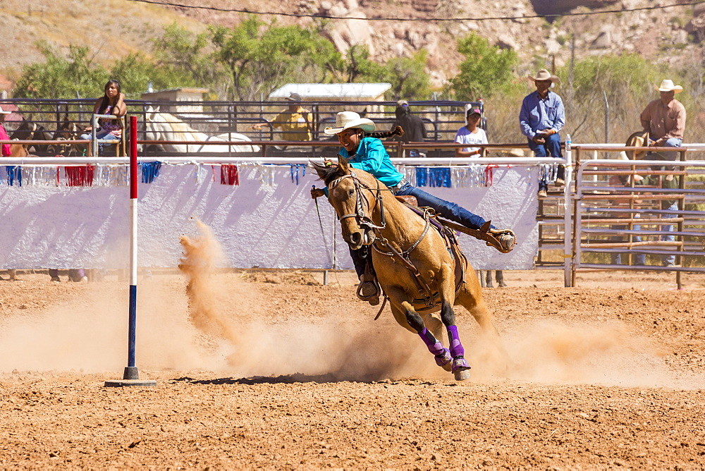 Horse rider competing in the Annual Utah Navajo Fair, Bluff, Utah, Usa.