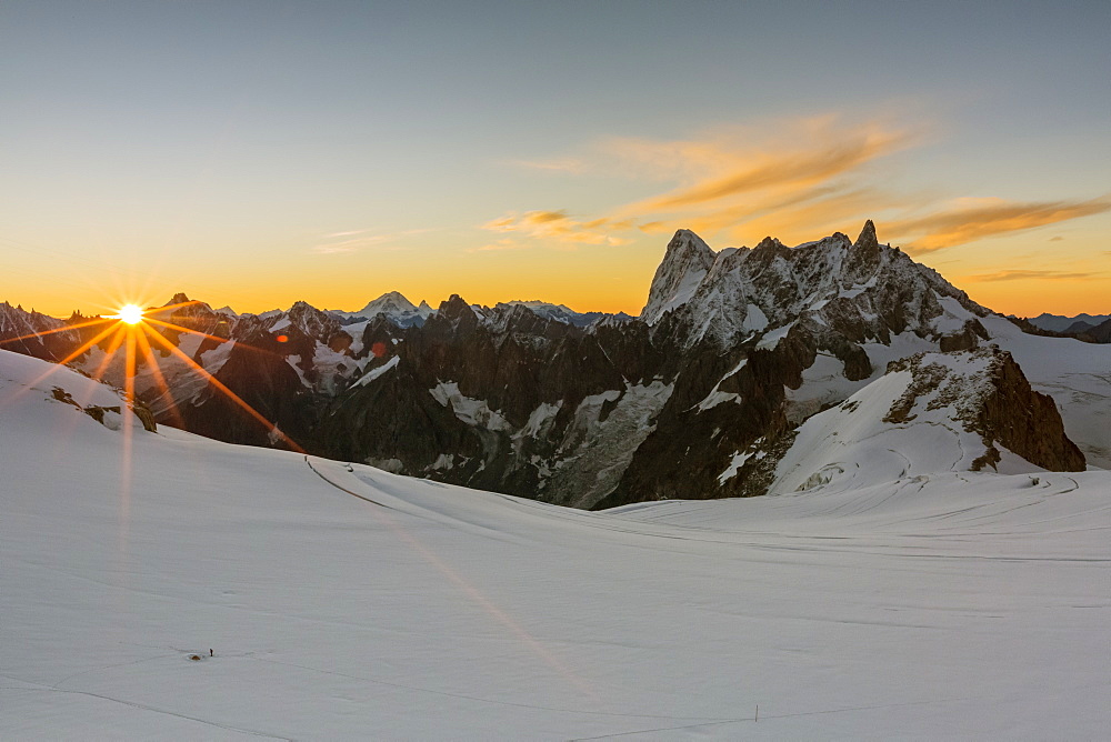Rochefort ridge with Dent du Geant. Mont Blanc Glacier, Chamonix-Mont-Blanc, Haute-Savoie, Auvergne-Rhone-Alps, France, Europe.