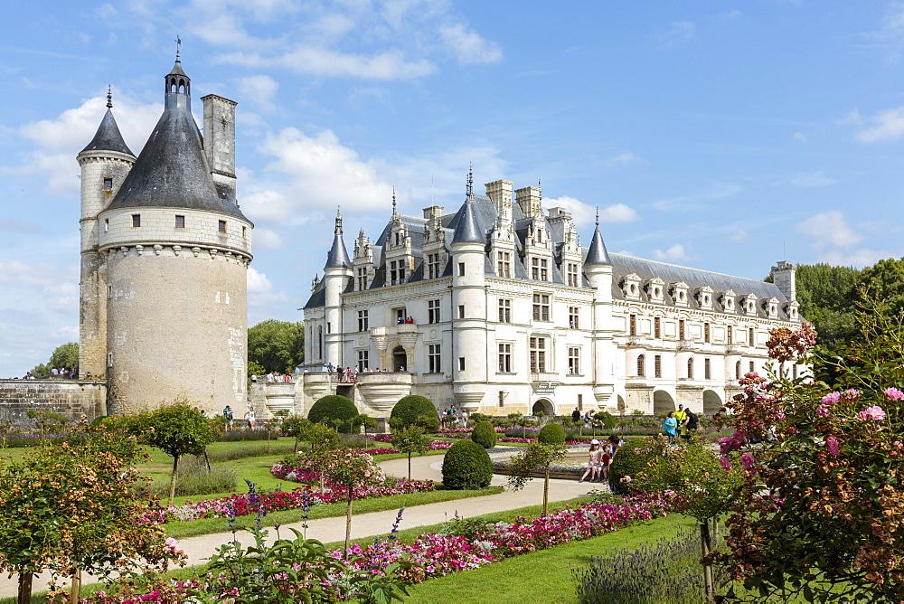 Summer flowers in the park of Chenonceau castle. Chenonceaux, Indre-et-Loire, France.