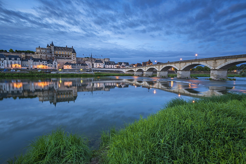 Castle and bridge at blue hour. Amboise, Indre-et-Loire, France.
