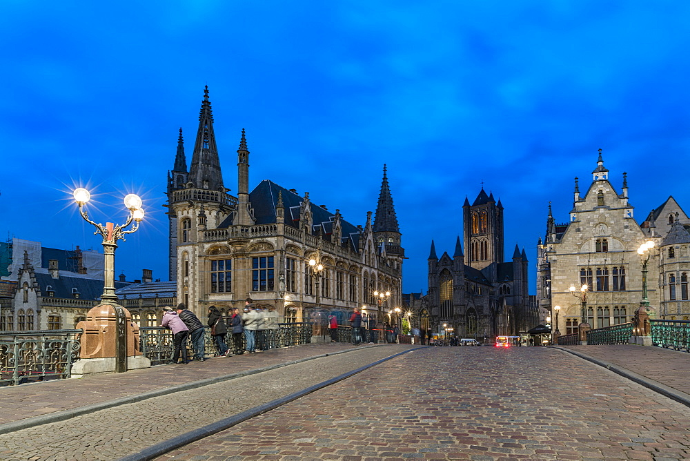 View of the cathedral from Saint Michael's bridge, Ghent, East Flanders province, Flemish region, Belgium, Europe