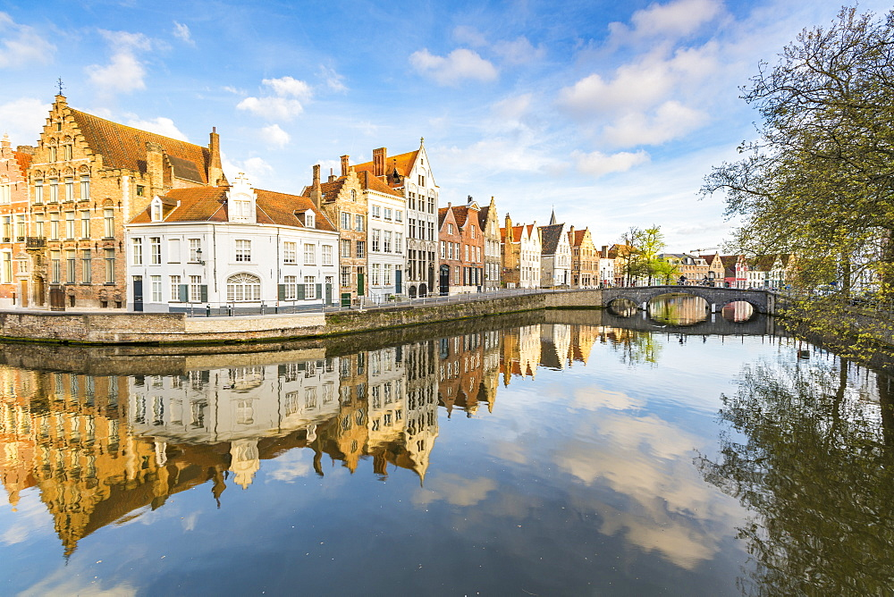 Houses reflected at Spiegelrei corner, Bruges, West Flanders province, Flemish region, Belgium, Europe
