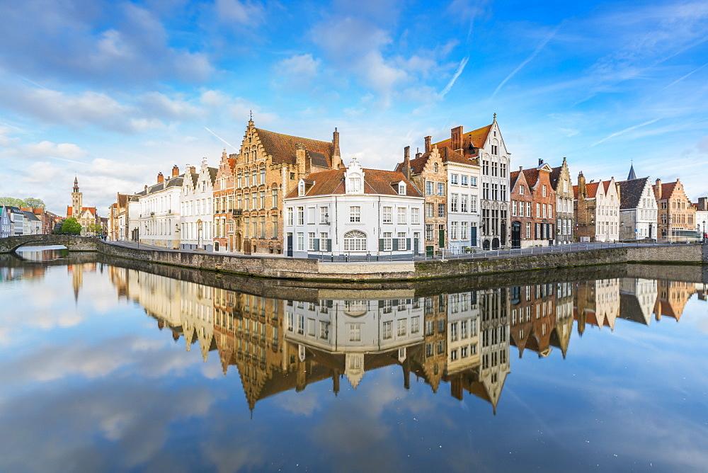 Houses reflected at Spiegelrei corner, Bruges, West Flanders province, Flemish region, Belgium, Europe