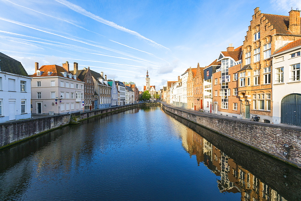 Houses and belfry on water canal. Bruges, West Flanders province, Flemish region, Belgium.