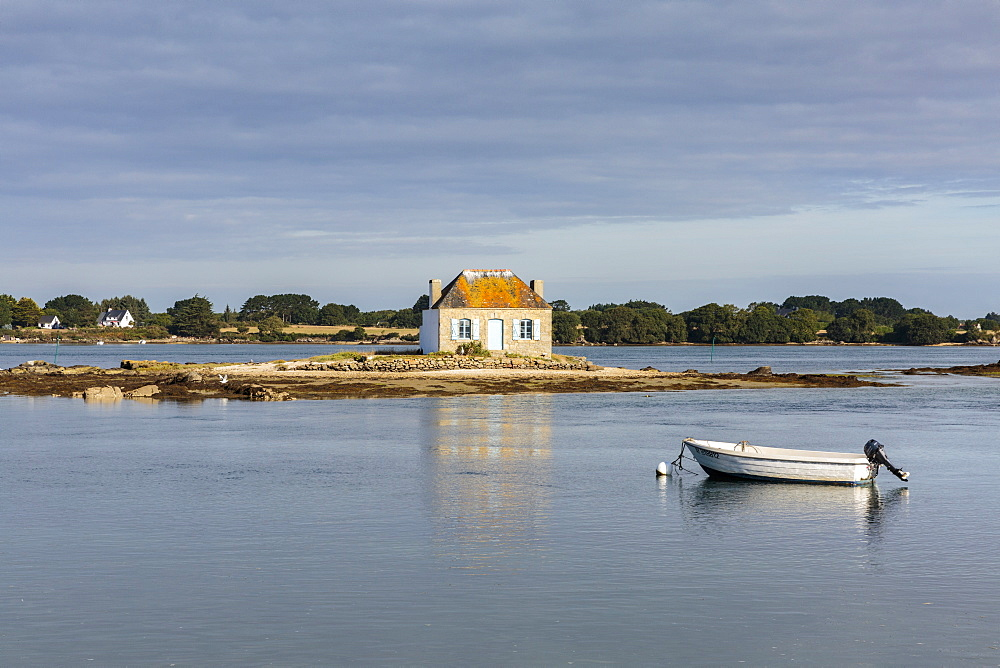 Photo of Boat in front of Saint-Cado isle. Quiberon, Morbihan, Brittany, France