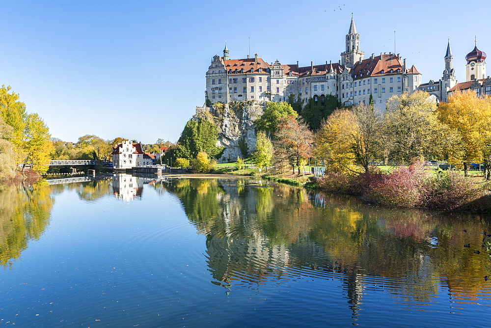Sigmaringen Castle reflected in the Danube River, Sigmaringen, Baden-Wurttemberg, Germany, Europe - 1251-406