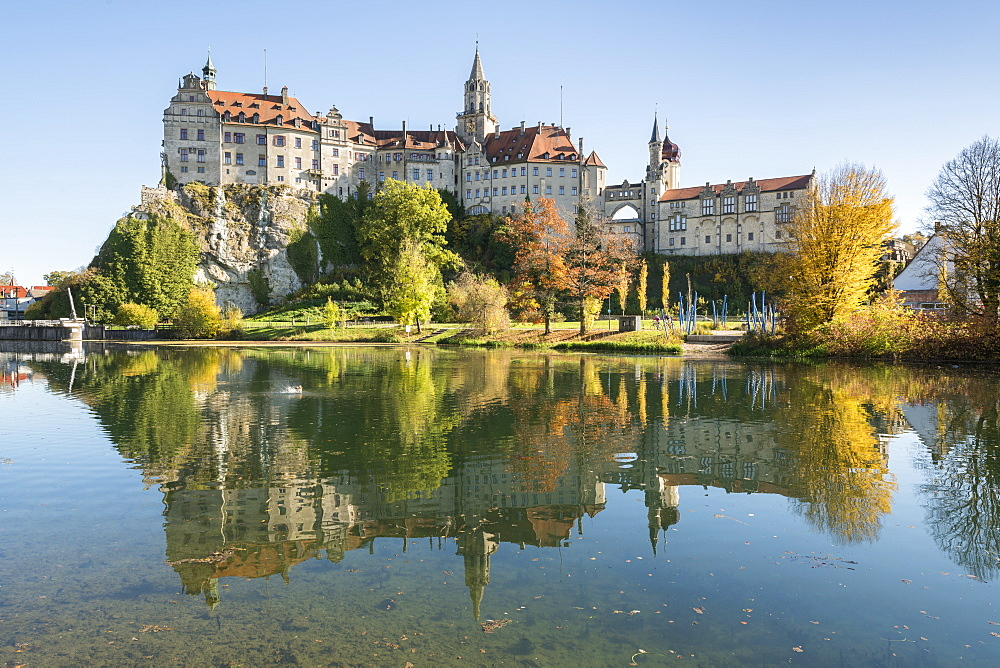 Sigmaringen Castle reflected in the Danube River, Sigmaringen, Baden-Wurttemberg, Germany, Europe - 1251-407