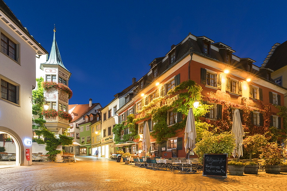 Square in the Upper Town at dusk, Meersburg, Baden-Wurttemberg, Germany, Europe - 1251-424