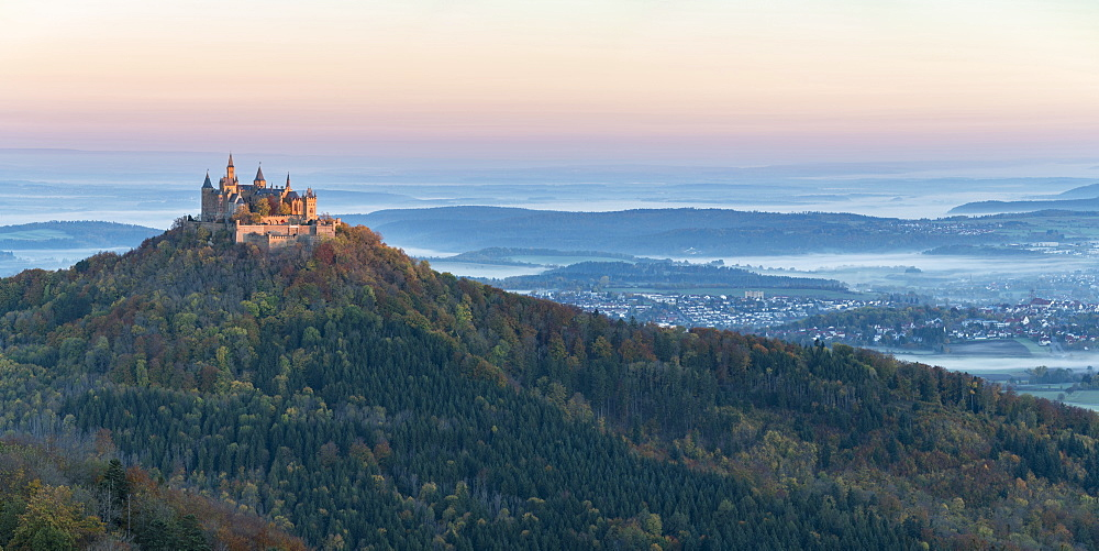 Hohenzollern Castle in autumnal scenery at dawn, Hechingen, Baden-Wurttemberg, Germany, Europe - 1251-426
