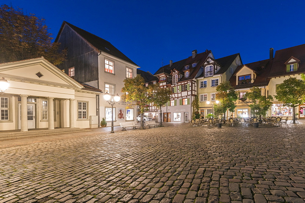 Square in the Upper Town at dusk, Meersburg, Baden-Wurttemberg, Germany, Europe - 1251-429