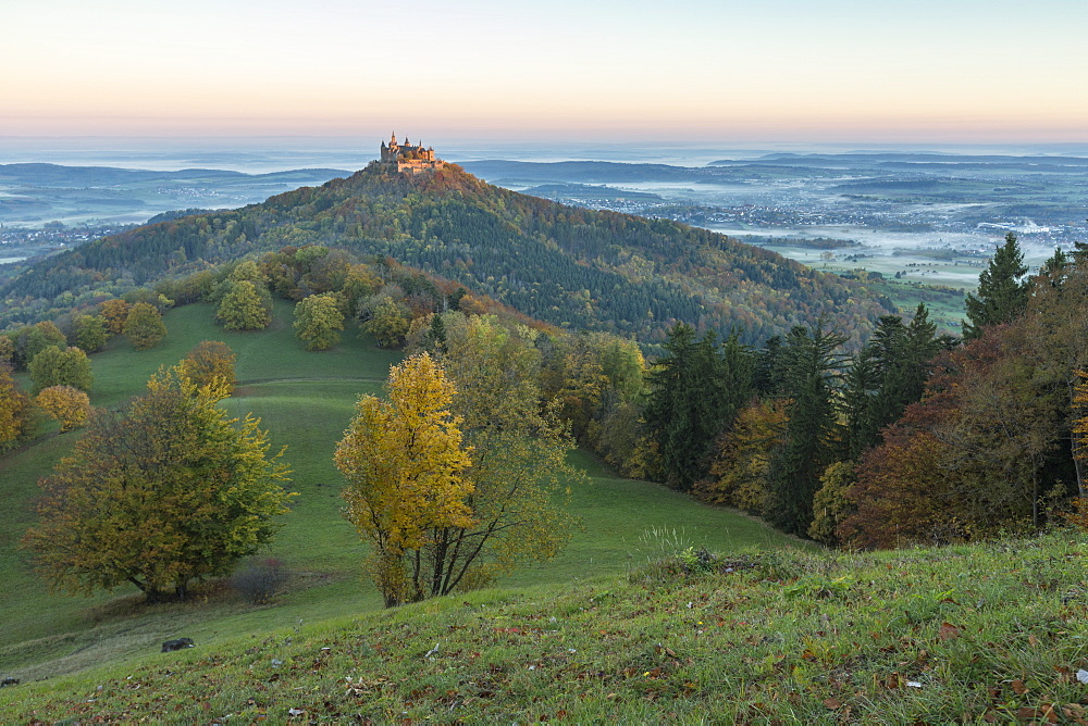 Hohenzollern Castle in autumnal scenery at dawn, Hechingen, Baden-Wurttemberg, Germany, Europe - 1251-430