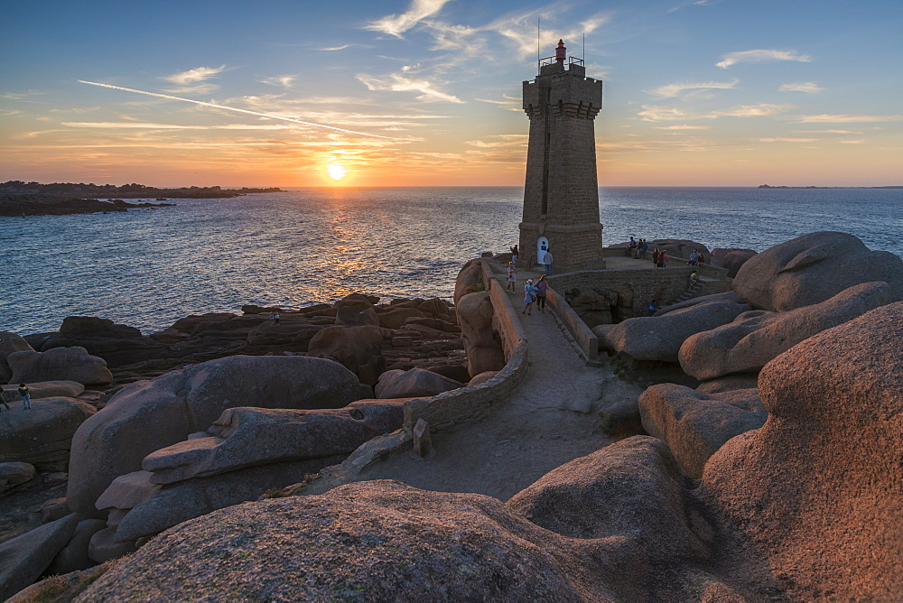 Ploumanach lighthouse at sunset, Perros-Guirec, Cotes-d'Armor, Brittany, France, Europe
