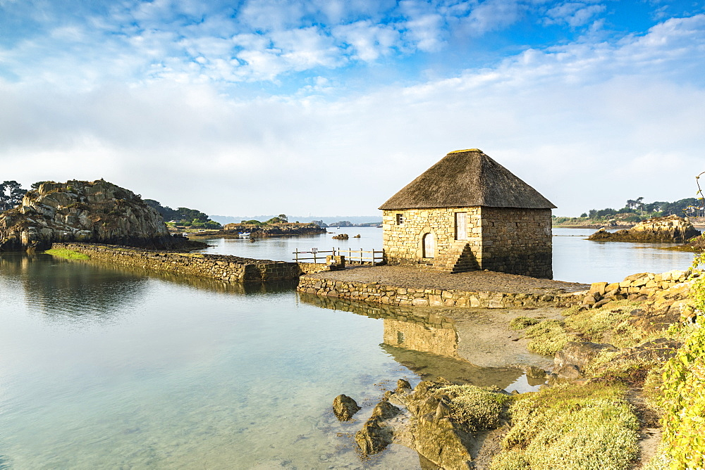 Tide mill on Brehat island, Cotes-d'Armor, Brittany, France, Europe