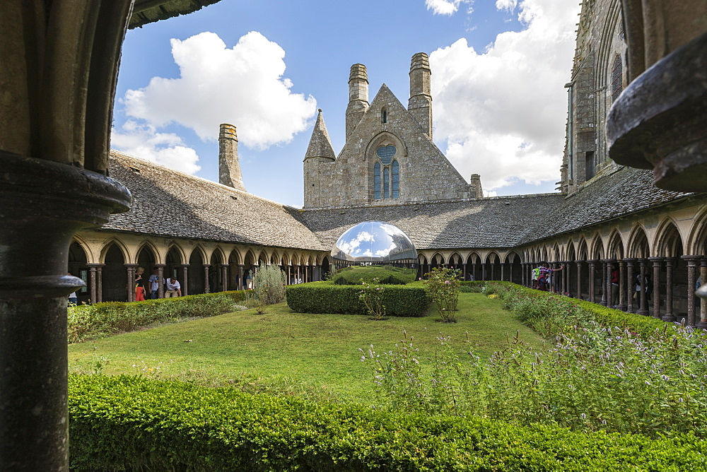 Sculpture in the cloister of Mont Saint-Michel abbey. Mont-Saint-Michel, Normandy, France.