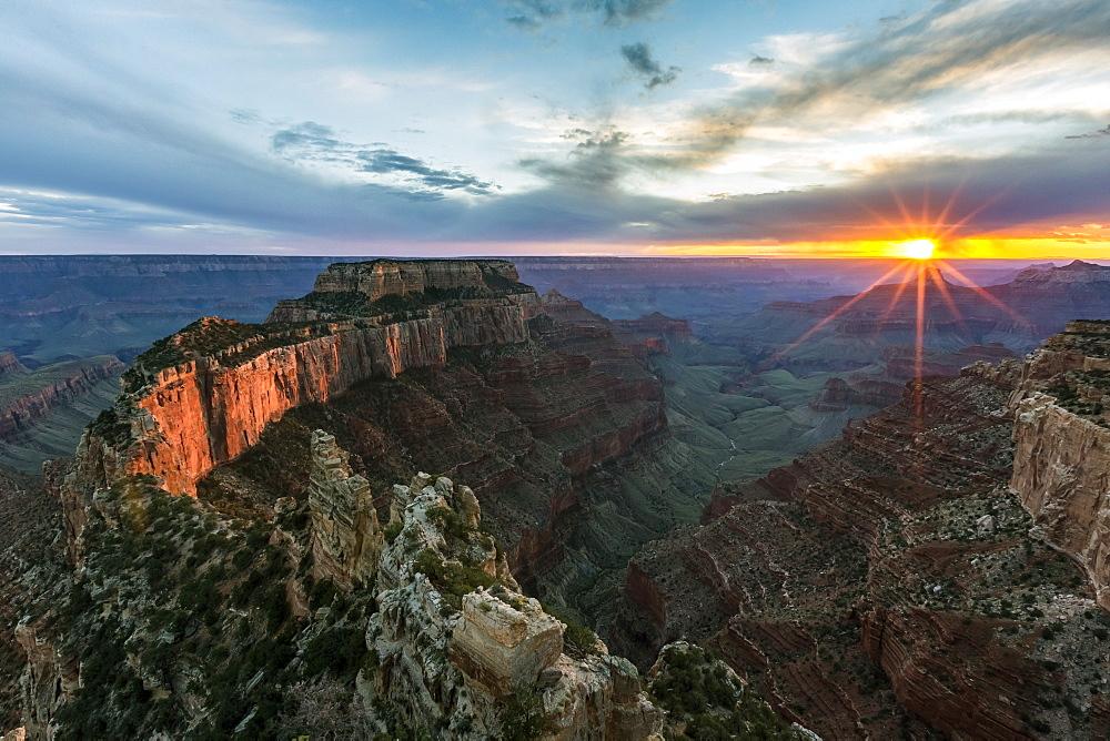 Sunset at Cape Royal. North Rim, Grand Canyon National Park, Arizona, Usa.
