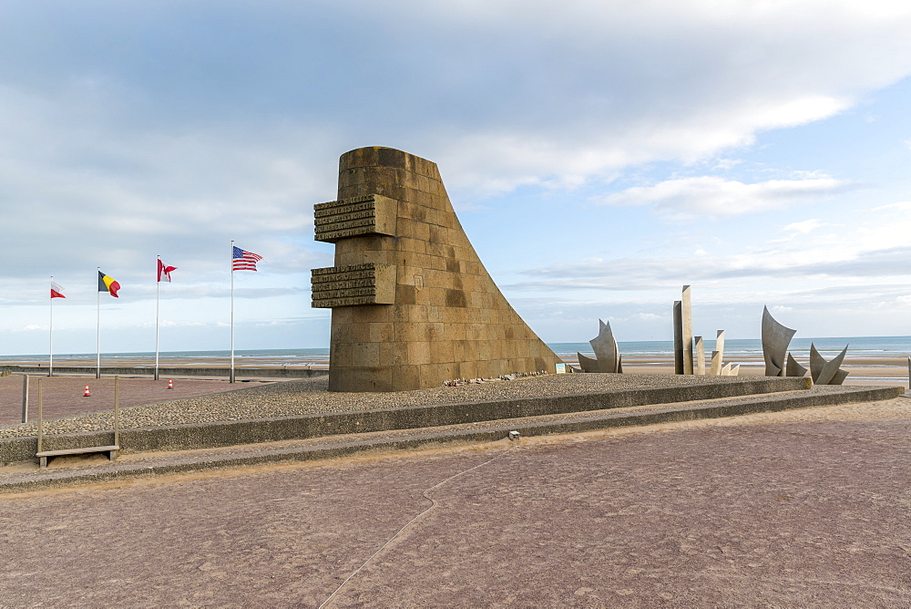 The Braves sculpture on the shore of Omaha Beach. Saint-Laurent-sur-Mer, Normandy, France.