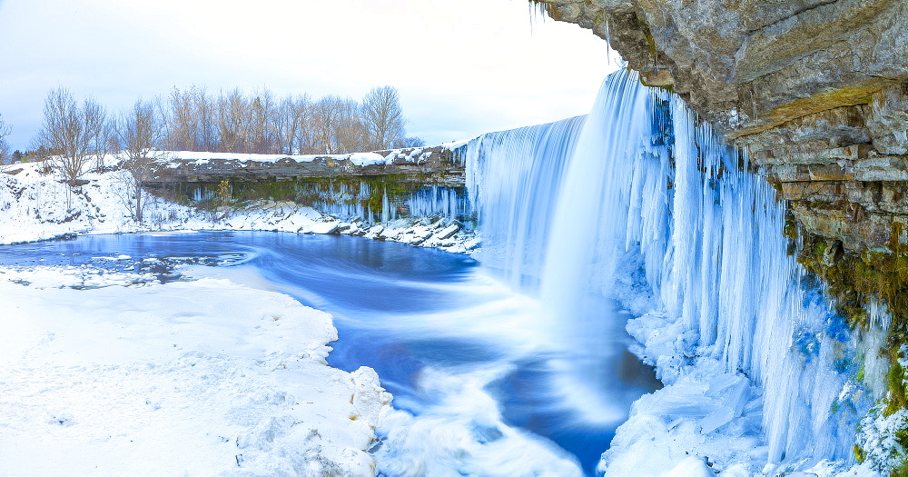 Winter ice covered and snowy waterfall, Estonia, Europe - 1252-7