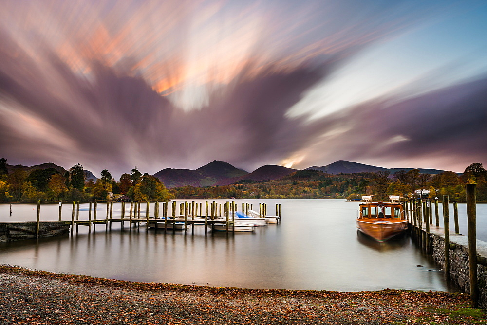 Derwentwater shoreline and the landing stages near Keswick and last rays of sunlight, Lake District National Park, Cumbria, England, United Kingdom, Europe