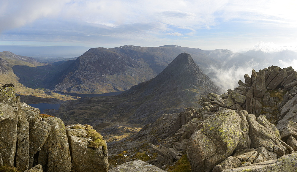 Tryfan, viewed from the top of Bristly Ridge on Glyder Fach, Snowdonia, Wales, United Kingdom, Europe