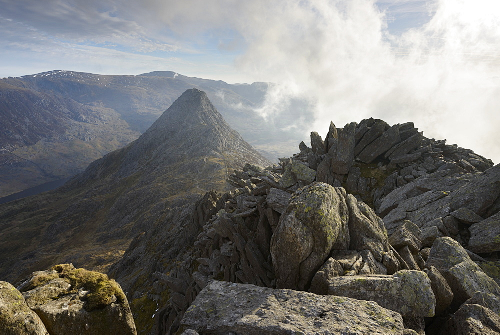Tryfan, viewed from the top of Bristly Ridge on Glyder Fach, Snowdonia, Wales, United Kingdom, Europe - 1255-8