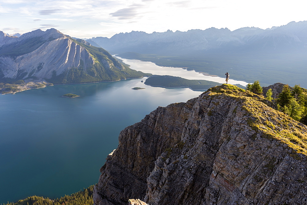 Breathtaking view at sunrise of Kananaskis Lake from peak of hike, Alberta, Rocky Mountains, Canada, North America - 1258-4