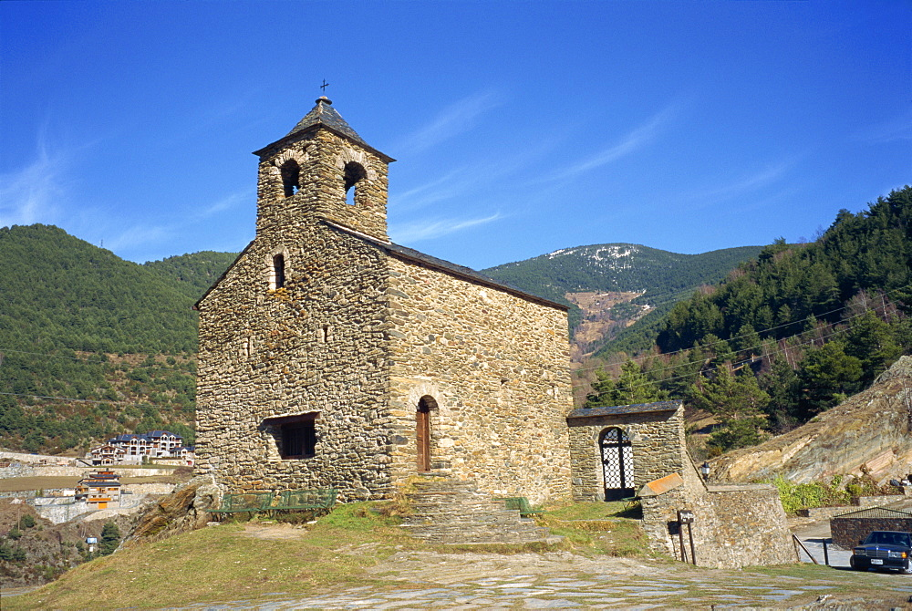 The small stone Sant Cristofol church at Anyos in Andorra, Europe