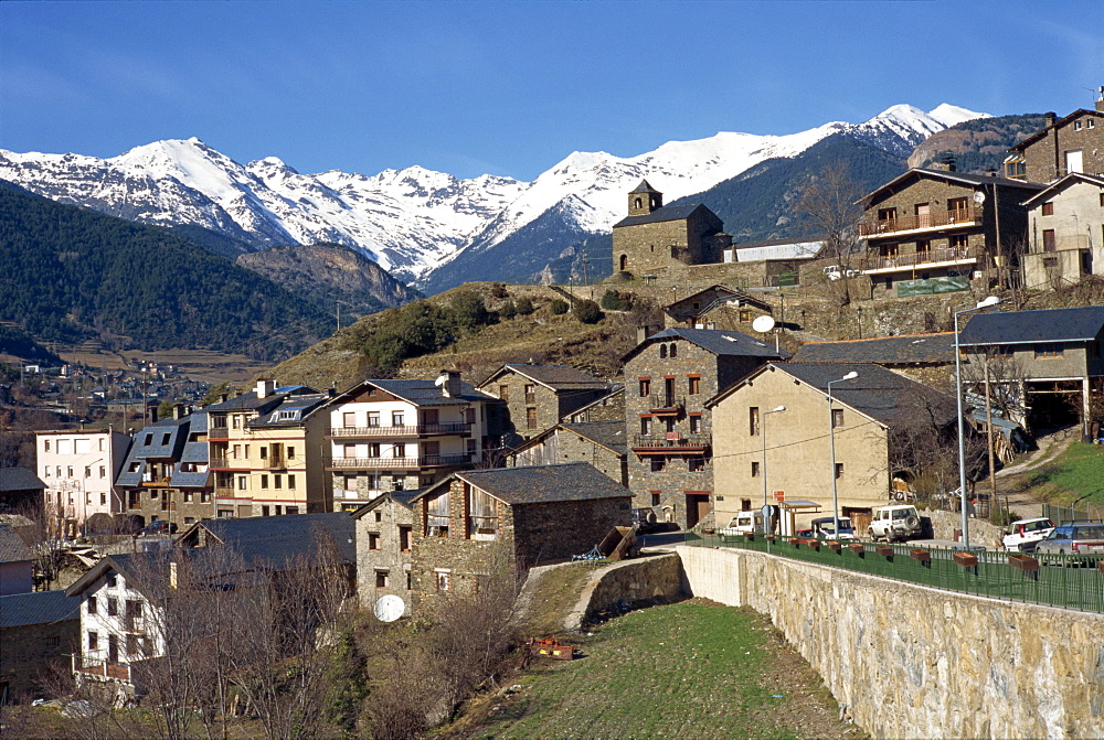 The village of Anyos with the Arcalis mountains beyond in Andorra, Europe