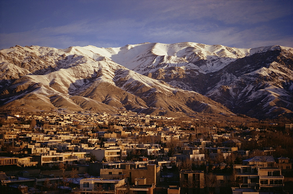 Towchal range behind the city, Tehran, Iran, Middle East
